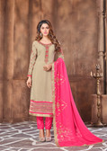 Attractively Designed Beige Colored Georgette Designer Semi Stitched Suit