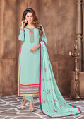 Attractively Designed Mint Green Colored Georgette Designer Semi Stitched Suit