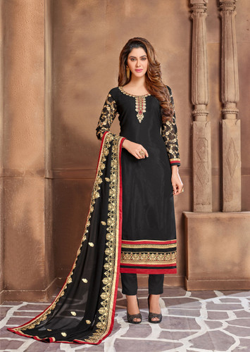 Attractively Designed Black Colored Georgette Designer Semi Stitched Suit