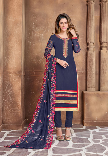 Attractively Designed Navy Blue Colored Georgette Designer Semi Stitched Suit