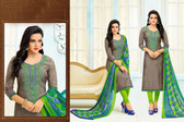 Beautiful & Modern Grey Colored Chanderi Cotton Unstitched Salwar Suit