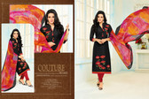 Beautiful & Modern Black Colored Chanderi Cotton Unstitched Salwar Suit