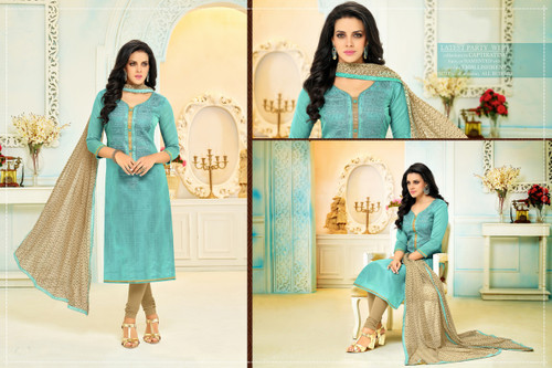 Beautiful & Modern Mint Green Colored Chanderi Cotton Unstitched Salwar Suit