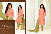 Beautiful & Modern Orange Colored Chanderi Cotton Unstitched Salwar Suit