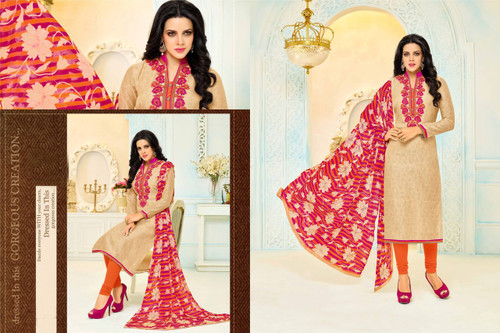 Beautiful & Modern Gold Colored Chanderi Cotton Unstitched Salwar Suit