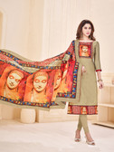Attractive & Elegant Beige Colored Mixed Silk with Digital Print Suit
