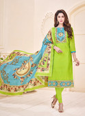 Attractive & Elegant Parrot Colored Mixed Silk with Digital Print Suit
