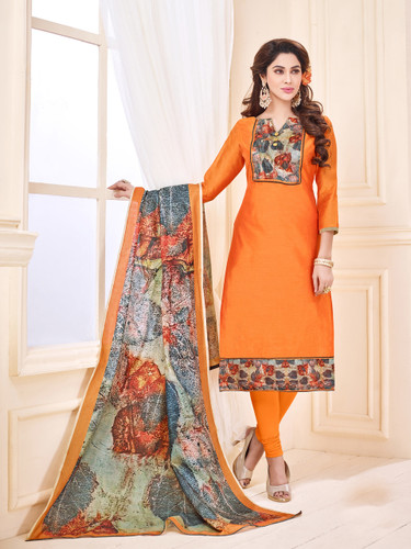 Attractive & Elegant Deep Yellow Colored Mixed Silk with Digital Print Suit