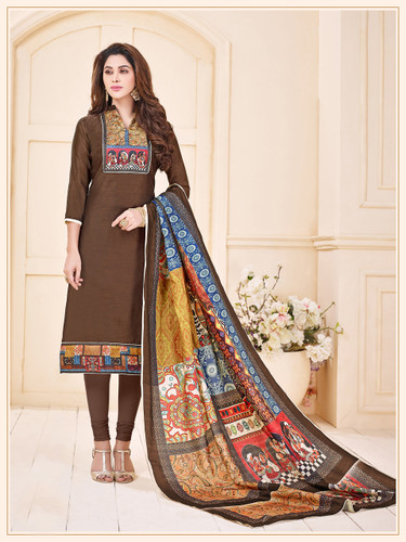 Attractive & Elegant Brown Colored Mixed Silk with Digital Print Suit