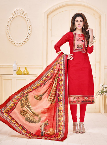 Attractive & Elegant Royal Pink Colored Mixed Silk with Digital Print Suit