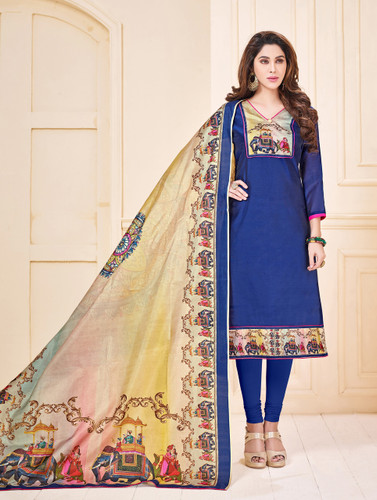 Attractive & Elegant Purple Colored Mixed Silk with Digital Print Suit
