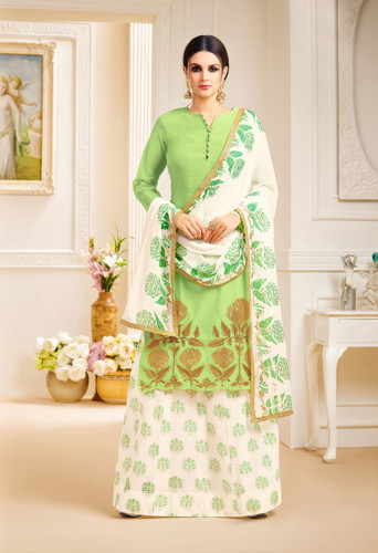 Classy & Stylish Parrot Green Color Pure Lawn Suit