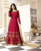 Vibrant & Exquisite Red Colored Georgette Heavy Designer Semi Stiched Suit