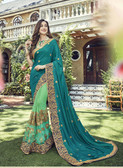 Vibrantly Alluring Sky Green & Light Parrot Colored Designer embroidery Work Saree