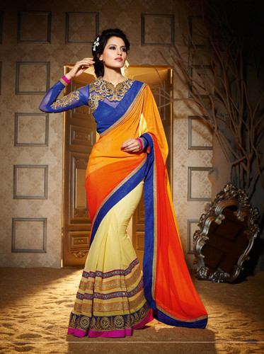 Delightful & Charming Red Colored Georgette Saree