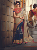 Delightful & Charming Grey Colored Georgette Saree