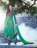 Vibrant In Style Green color Georgette Print Suit