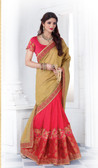 Enthralling & Graceful Beige & Pink Colored Silk Saree