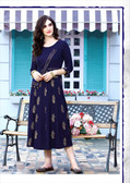 Stylishly Fashionable Navy Blue Colored Rayon Designer Readymade Kurti