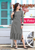 Stylishly Fashionable Grey Colored Rayon Designer Readynmade Kurti