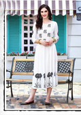 Stylishly Fashionable White Colored Rayon Designer Readynmade Kurti