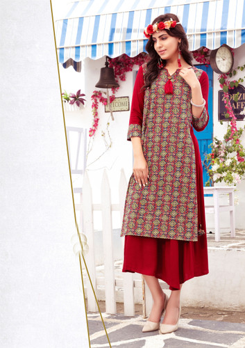 Colorful & Lovely Red Colored Cotton Printed Readymade Kurti