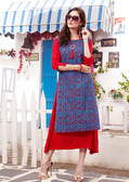 Colorful & Lovely Blue & Red Colored Cotton Printed Readymade Kurti