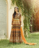 Vibrant & Irresistible  Orange Multi Colored Designer Semi Stitched Salwar Suit