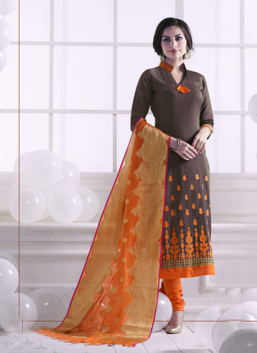 Chic & Trendy Brown Colored Khadi Cotton Designer Suit