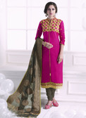 Chic & Trendy Pink Colored Khadi Cotton Suit