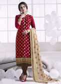 Chic & Trendy Maroon Colored Khadi Cotton Suit