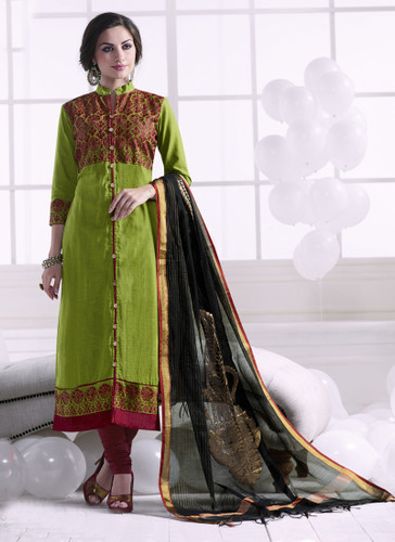 Chic & Trendy Green Colored Khadi Cotton Premium Suit