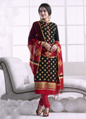 Chic & Trendy Black Colored Khadi Cotton Suit
