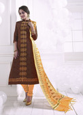 Chic & Trendy Brown Colored Khadi Cotton Premium Suit