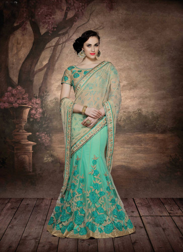 Alluring & Graceful Sea Green Color Net & Chiffon Saree