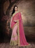 Alluring & Graceful Pink & Light Pink Color Net & Fancy Lycra Saree