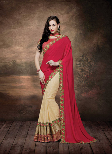 Alluring & Graceful Red & Off Yellow Color Crep Silk & Fancy Silk Saree