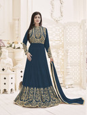 Fascinating & Trendy Teal Green Colored Georgette Suit