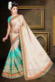 Attractive & Classy Beige & Sky Blue Colored Mussle Silk Padding Saree