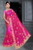 Attractive & Classy Pink Colored Net Saree
