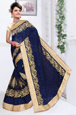 Attractive & Classy Navy Blue Colored Net Saree