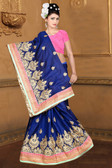 Attractive & Classy Navy Blue Colored Two Tone Barfi Silk Saree