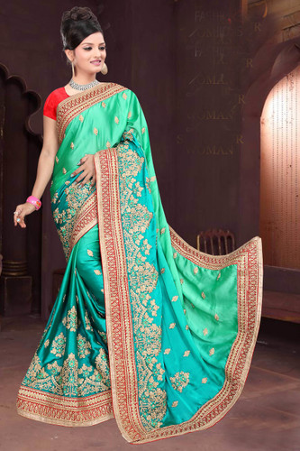 Attractive & Classy Sky Green Colored Rangoli Silk Padding Saree