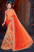 Attractive & Classy Orange Colored Net Saree