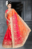 Attractive & Classy Orange & Pink Colored Rangoli Silk Padding Saree