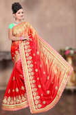 Attractive & Classy Orange & Beige Colored Rangoli Silk Padding Saree