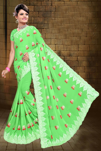 Attractive & Classy Light Green Colored Georgette Saree