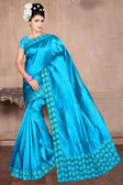 Attractive & Classy Blue Colored Zapata Silk Saree