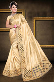 Attractive & Classy Beige Colored Zapata Silk Saree