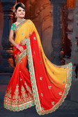 Attractive & Classy Orange & Yellow Colored Rangoli Silk Padding Saree
